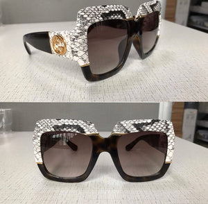 Gucci Inspired Snakeskin Printed Chunky Square Acetate Sunglasses