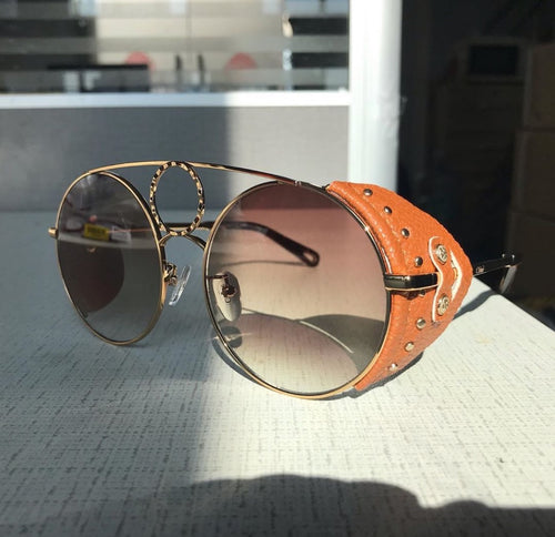 Chloe Inspired Leather Side Round Sunglasses