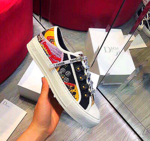 Dior Inspired Walk N Dior Embroidered Patchwork Sneakers