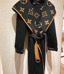 Louis Vuitton Inspired Hooded Wrap Coat