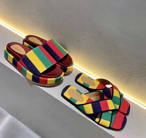 Gucci Inspired Striped Flatform Slides