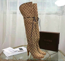 Gucci Inspired Lisa Canvas Logo Over Knee Boots