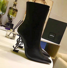 YSL Inspired Opyum Leather Letter Heel Boots