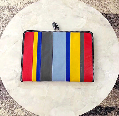 Balenciaga Inspired Bazar Multicolored Stripe Leather Clutch Handbag