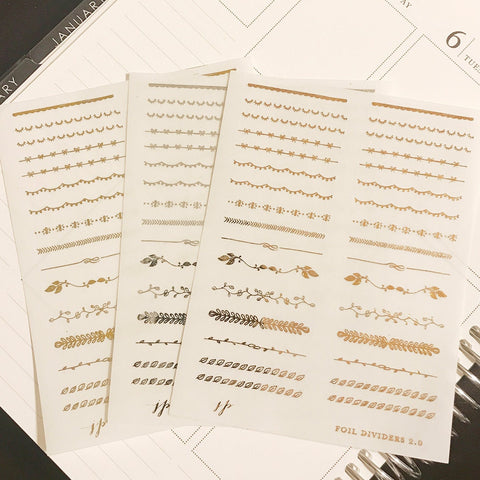 Foil Dividers 2.0 on Clear Background  || for Erin Condren || Happy Planner ||