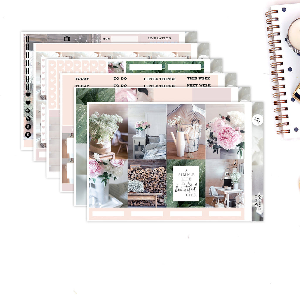 Country Living || for Erin Condren Life Planner || Weekly Stickers Kit || Vertical Layout
