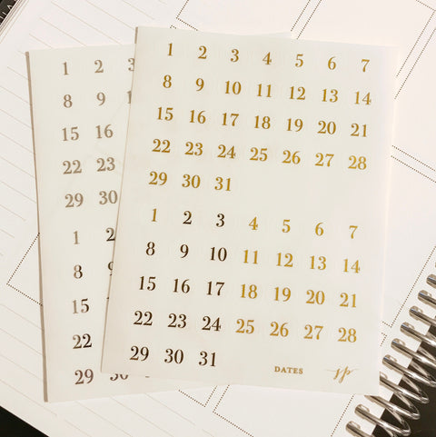Foil Date Stickers on Clear Background || for Erin Condren || Happy Planner ||