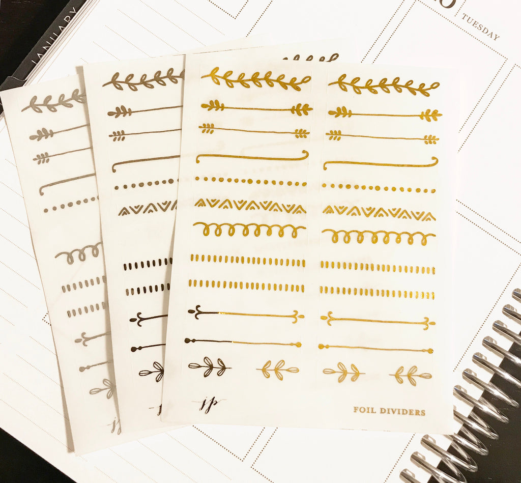 Foil Dividers on Clear Background || for Erin Condren || Happy Planner ||