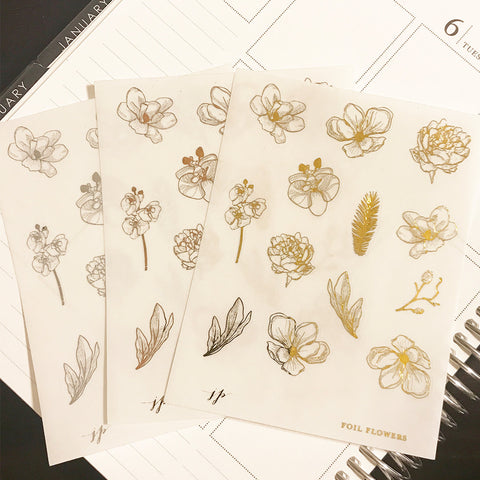 Foil Flowers on Clear Background  || for Erin Condren || Happy Planner ||