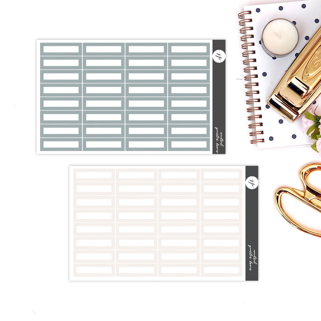 Neutral Quarter Boxes 2.0 Stickers  || for Erin Condren Life Planner || Functional Stickers