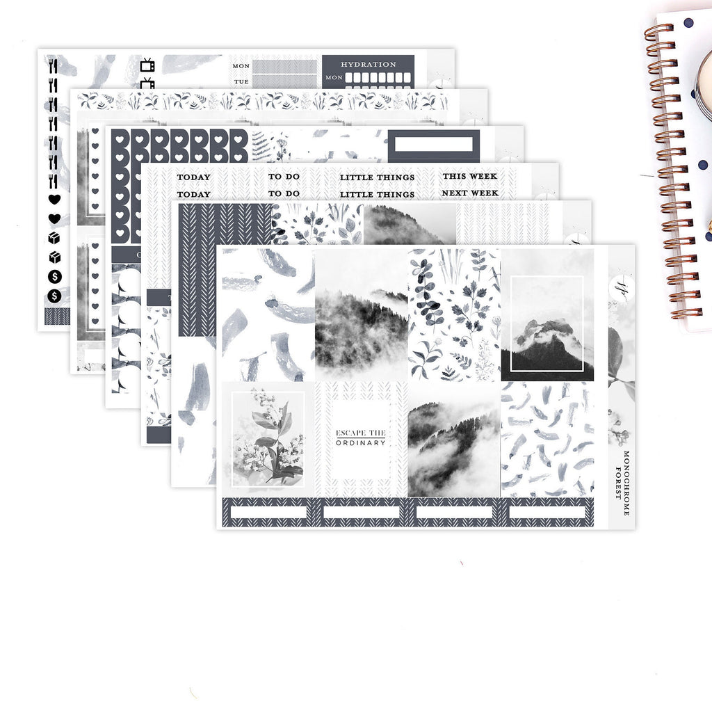 Monochrome Forest ||Weekly Planner Sticker Kit|| for Erin Condren Vertical Layout || Photography Kit ||