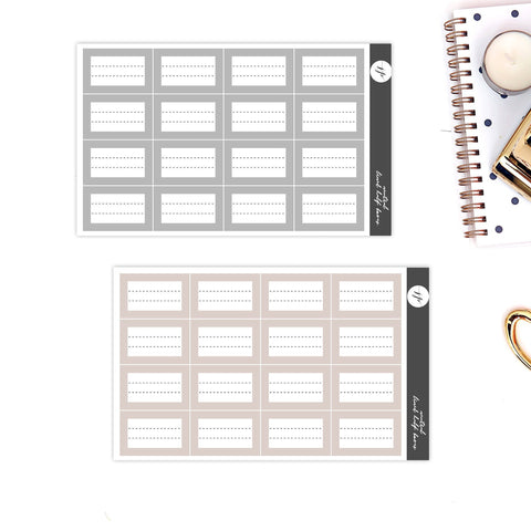 Neutral Lined Half Boxes Stickers || for Erin Condren Life Planner || Functional Stickers