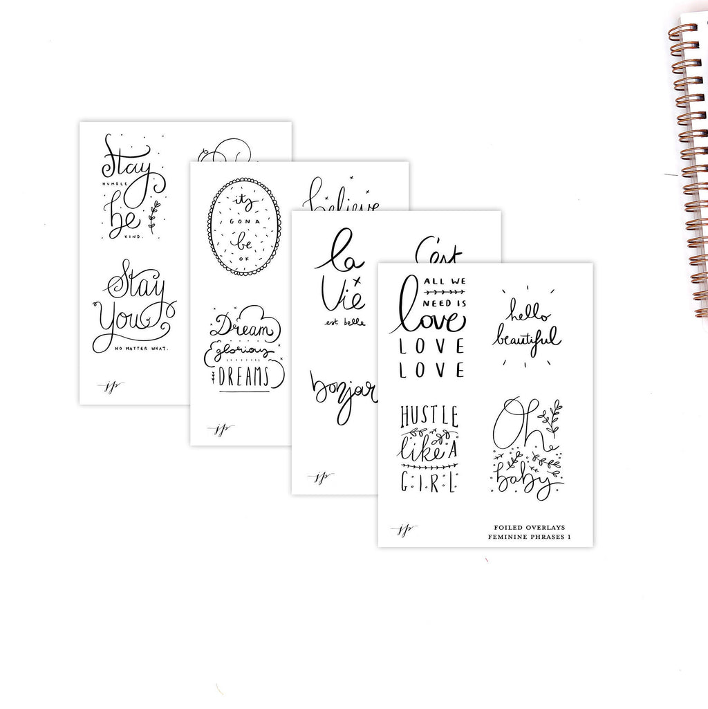 Feminine Phrases - Foiled Overlays on Clear Matte Background  || for Erin Condren || Happy Planner ||
