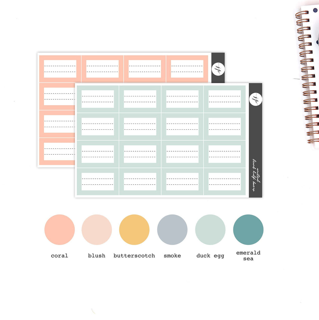 Spring - Lined Full Boxes Stickers || for Erin Condren Life Planner || Functional Stickers ||
