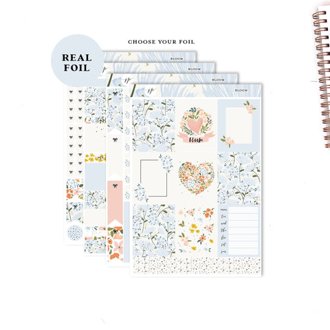 Bloom - FOILED KIT   ||Weekly Planner Foiled Sticker Kit|| for Erin Condren Vertical Layout ||