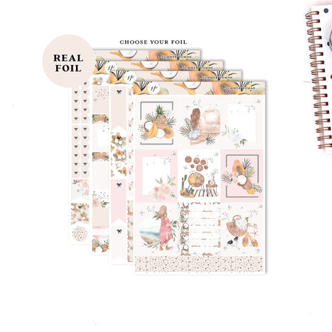Summer Woman - FOILED KIT   ||Weekly Planner Foiled Sticker Kit|| for Erin Condren Vertical Layout ||