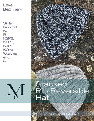 Stacked Rib Reversible Hat Kit or Pattern