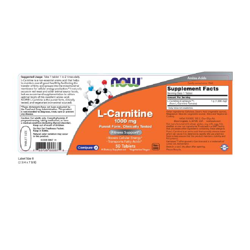 CARNITINE TARTRATE 1000mg  50 TABS