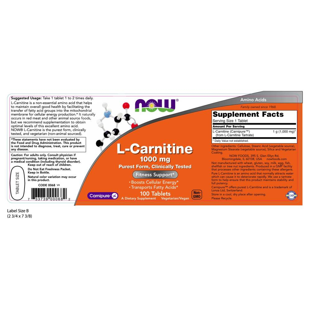 CARNITINE TARTRATE 1000mg  100 TABS