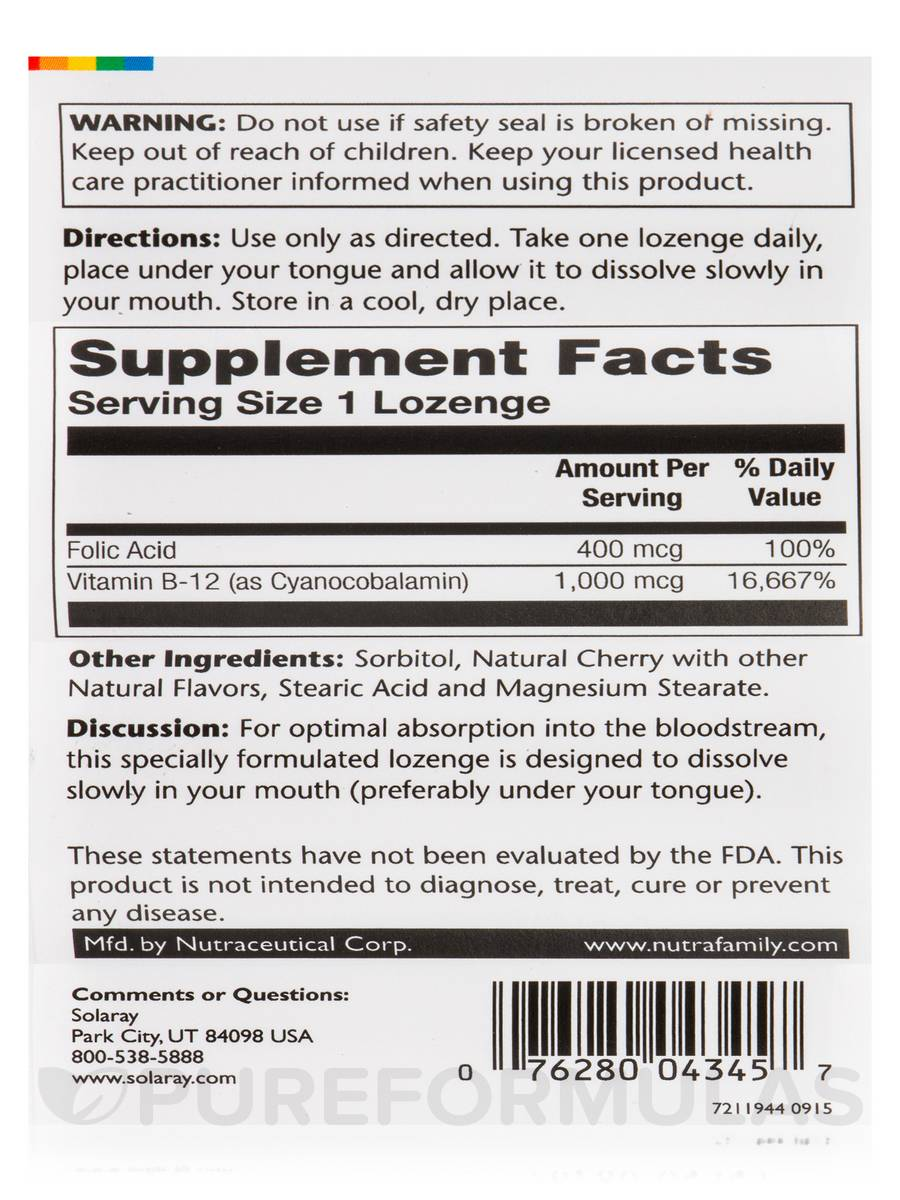 B12 Lozenges 1000mcg 90ct Cherry
