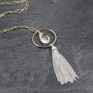 Long Silver and Gold Tassel Necklace