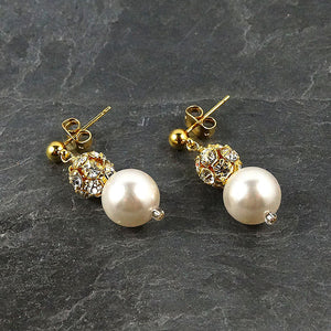 Sparkly Crystal and Pearl Drop Earrings