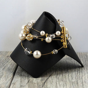 Pearl and Crystal Gold Bracelet