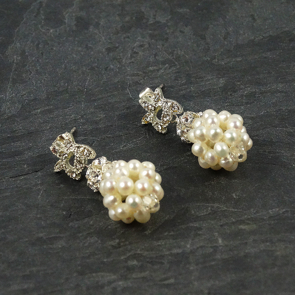Pearl Rhinestone Bridal Earrings
