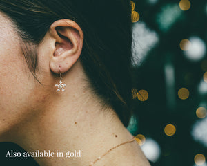 Dangly Gold Snowflake Earrings