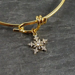 Gold Snowflake Bangle Bracelet