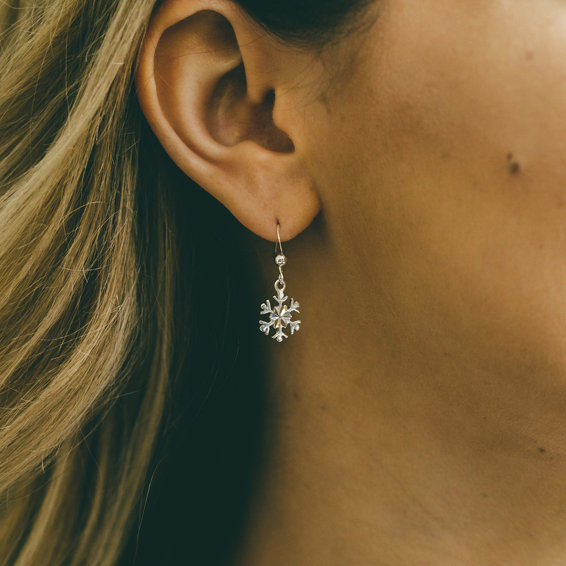Dangly Silver Snowflake Earrings