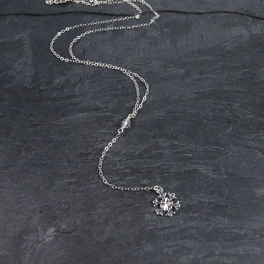 Silver Snowflake Lariat Necklace