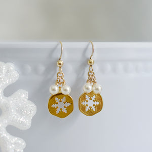 Gold Vermeil Snowflake Earrings