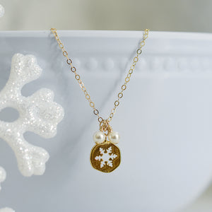 Gold Snowflake Cutout Necklace