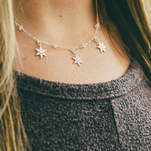 Moonstone + Silver Snowflake Necklace