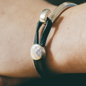 Hammered Black Leather Bracelet