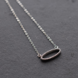 Short Silver Oval Necklace