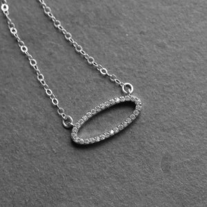 Sparkly Silver Oval Necklace