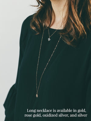 Long Gold Pave Necklace
