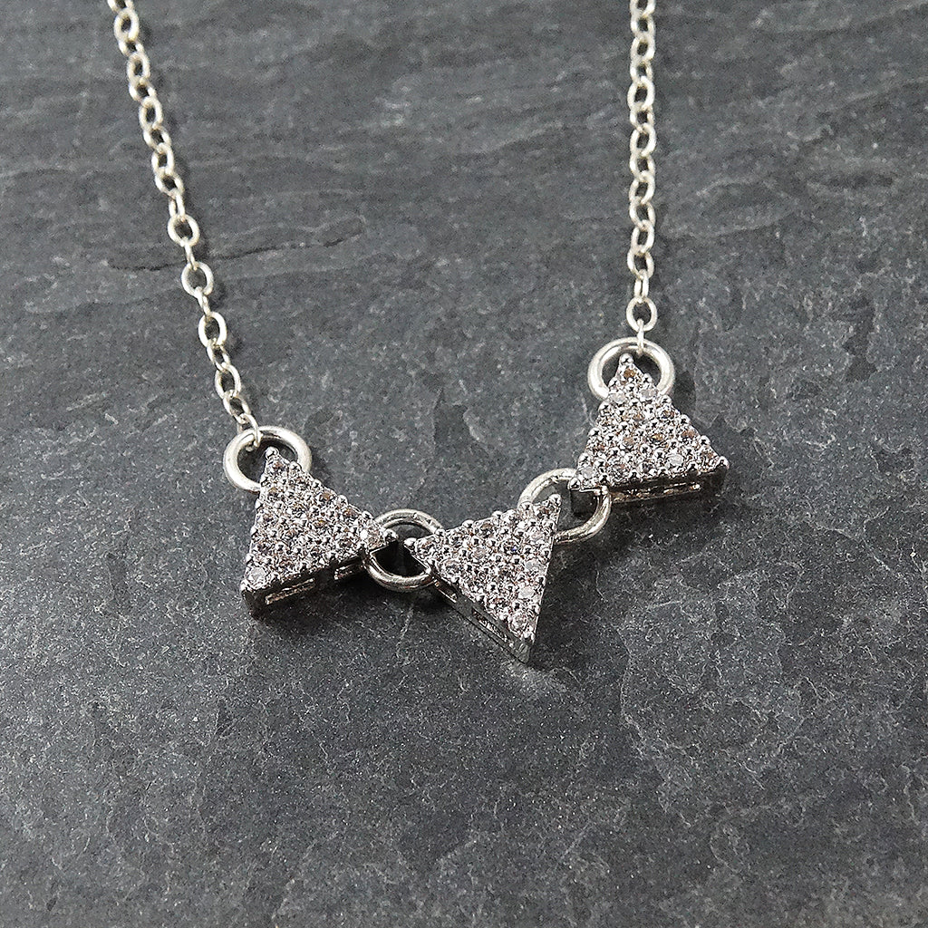 Sterling Silver Three Triangle Pendant Necklace