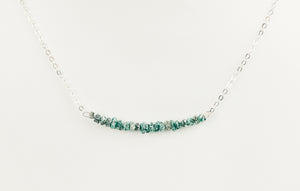 Raw Blue Green Diamond Necklace