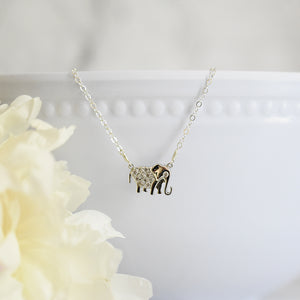 Silver Sparkly Elephant Necklace