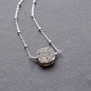 Silver Square Druzy Geode Necklace