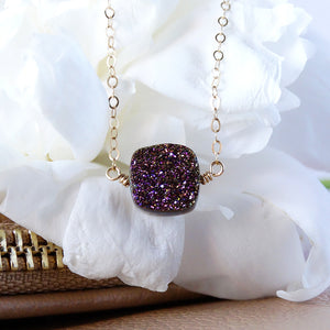 Purple Druzy Gold Necklace