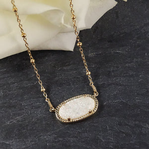 White and Gold Druzy Necklace