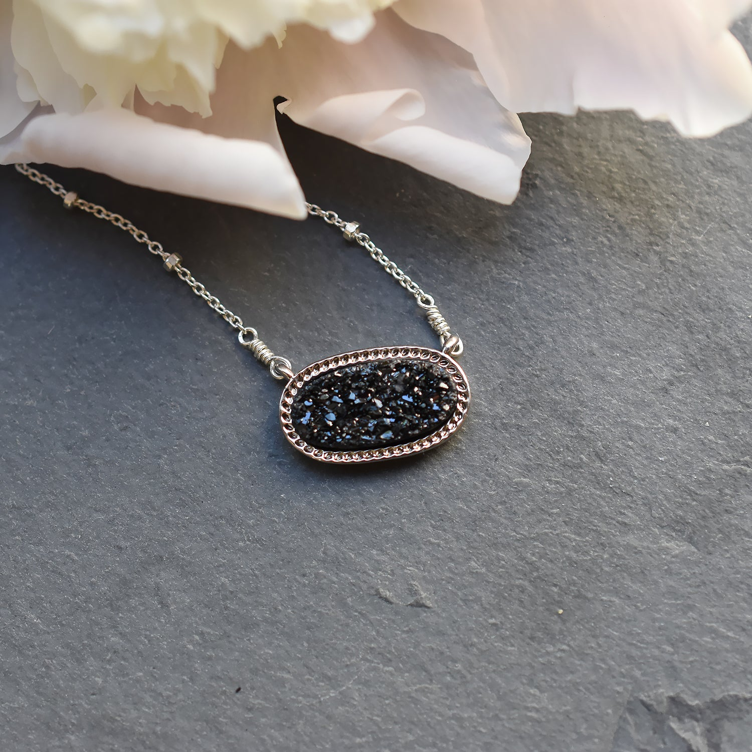 Black and Silver Druzy Necklace
