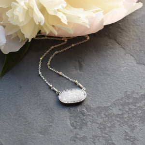 White Druzy and Silver Necklace
