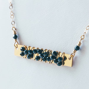 Wire Wrapped Black Spinel Gold Necklace