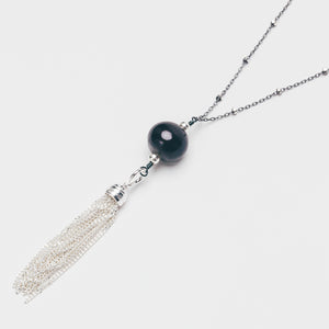 Oxidized Silver Pearl Tassel Necklace