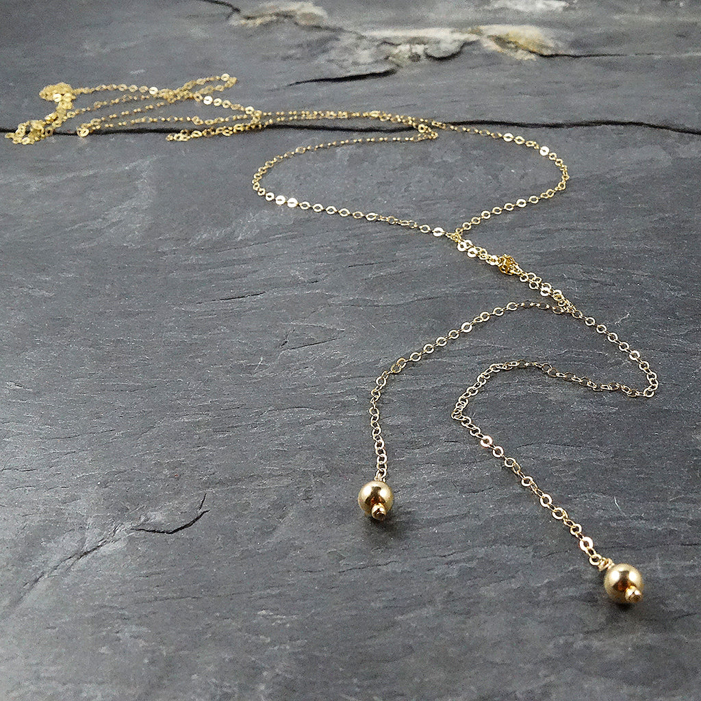 Trendy Long Gold Lariat Necklace